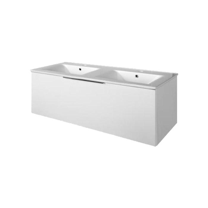 Domino 120 (Koupelnová skříňka závěsná, zásuvková s keramickým dvojumyvadlem Domino 120)