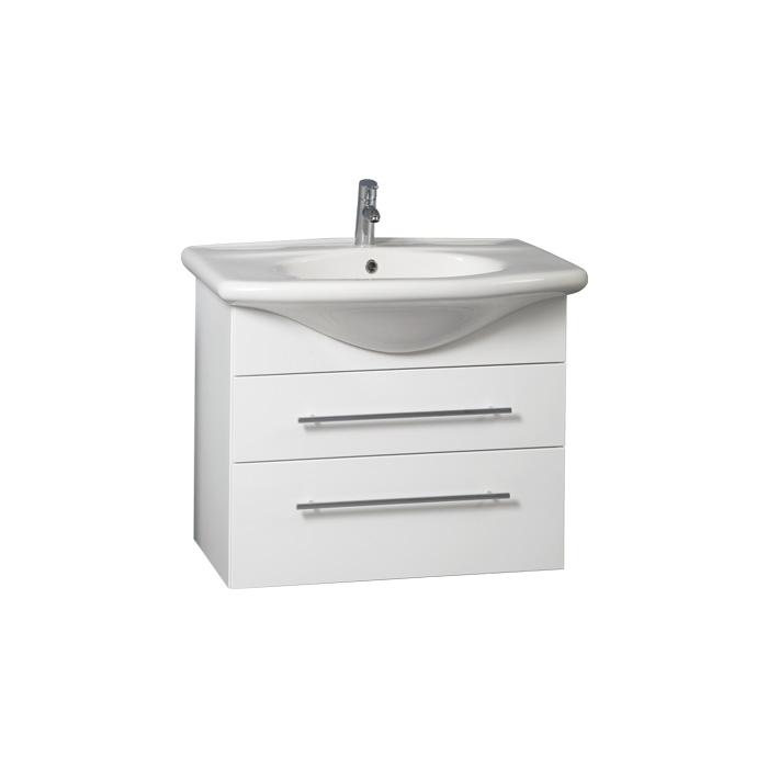 Weiss 75 - DO VYPRODÁNÍ ZÁSOB (Koupelnová skříňka závěsná zásuvková s keramickým umyvadlem Weiss 75)
