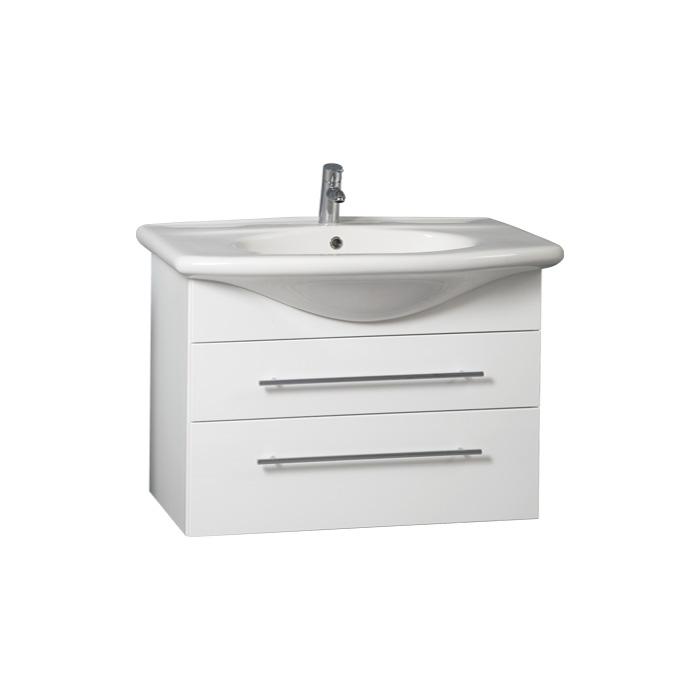 Weiss 85 - DO VYPRODÁNÍ ZÁSOB (Koupelnová skříňka závěsná zásuvková s keramickým umyvadlem Weiss 85)